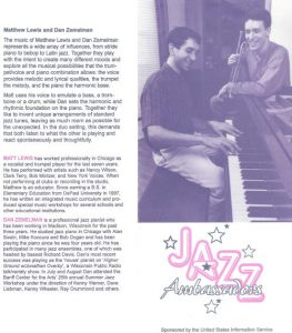 Dan Zemelman - 1998 Jazz Ambassador with the US State Department and Kennedy Center, Washington D.C.